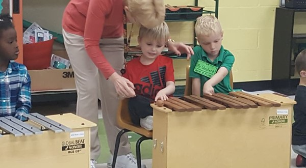 1st graders in music class