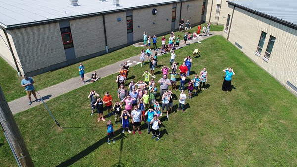 Elementary students viewing the 2017 solar eclipse