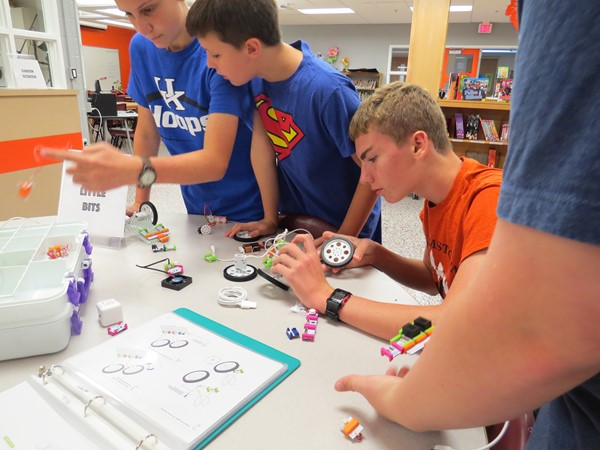 LittleBits Lessons during The Foundry Playground Day.  Students rotated through stations, giving them the opportunity to explore several different pieces of equipment and materials in our of the Foundry