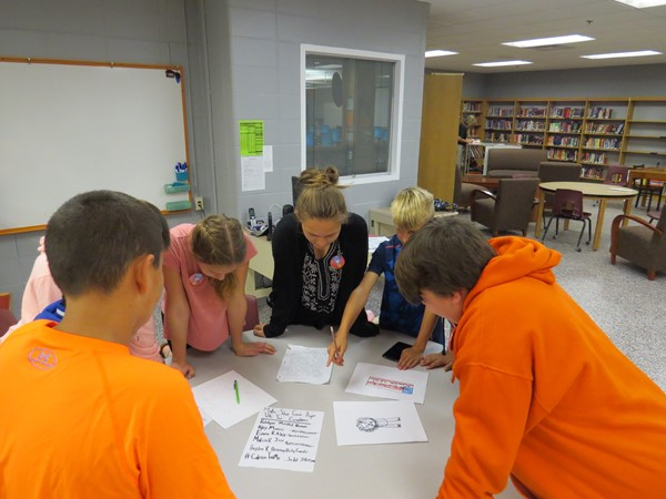 JR High students working on their campaign strategy