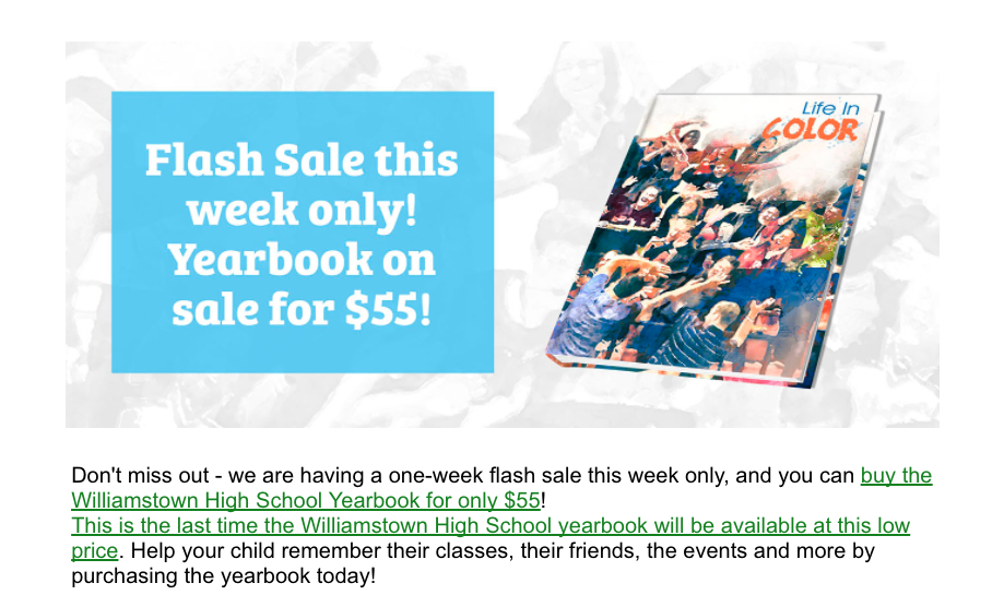 Flash Sale - WHS Yearbook for $55 this week only